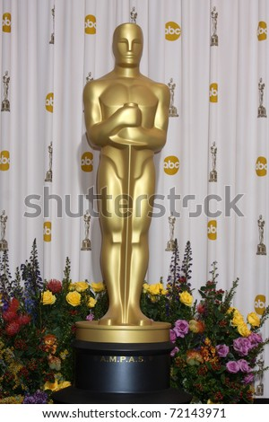 LOS ANGELES -  FEB 27: The Oscar statue stands in the Press Room at the 83rd Academy Awards at Kodak Theater, Hollywood & Highland on February 27, 2011 in Los Angeles, CA