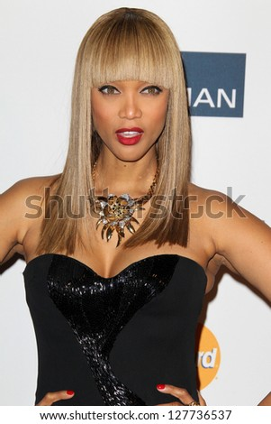 LOS ANGELES - FEB 9:  Tyra Banks arrives at the Clive Davis 2013 Pre-GRAMMY Gala at the Beverly Hilton Hotel on February 9, 2013 in Beverly Hills, CA - stock photo