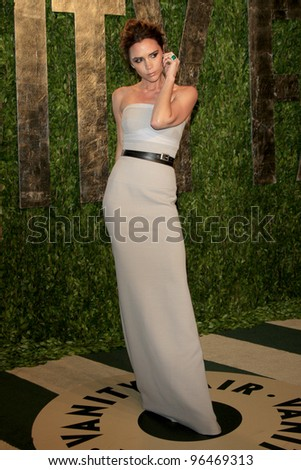 LOS ANGELES - FEB 26:  Victoria Beckham arrives at the 2012 Vanity Fair Oscar Party  at the Sunset Tower on February 26, 2012 in West Hollywood, CA - stock photo