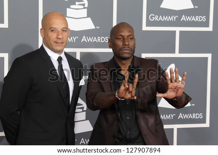 LOS ANGELES - FEB 10:  Vin Diesel, Tyrese Gibson arrive at the 55th Annual Grammy Awards at the Staples Center on February 10, 2013 in Los Angeles, CA