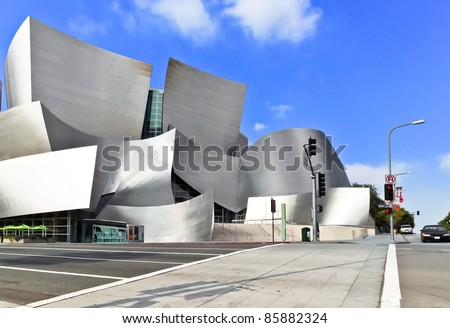 LOS ANGELES - FEB 13: Walt Disney Concert Hall on February 13, 2010 features Frank Gehry's iconic architecture located in Downtown Los Angeles, CA. The concert hall houses the Los Angeles Philharmonic Orchestra