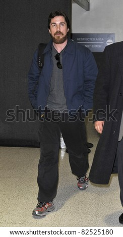 LOS ANGELES-FEBRUARY 22: Actor Christian Bale with beard at LAX airport. February 22, 2010 in Los Angeles, California