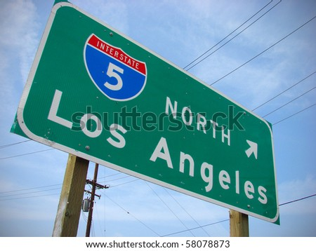 Los Angeles freeway interstate sign