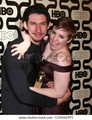 LOS ANGELES - JAN 13:  Adam Driver, Lena Dunham arrives at the 2013 HBO Post Golden Globe Party at Beverly Hilton Hotel on January 13, 2013 in Beverly Hills, CA..