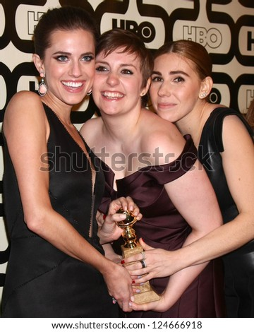 LOS ANGELES - JAN 13:  Allison Williams, Lena Dunham, Zosia Mamet arrives at the 2013 HBO Post Golden Globe Party at Beverly Hilton Hotel on January 13, 2013 in Beverly Hills, CA..