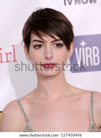 "LOS ANGELES - JAN 10:  Anne Hathaway arrives to the ""Critic's Choice Awards 2013  on January 10, 2013 in Santa Monica, CA"