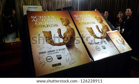LOS ANGELES - JAN 27: Atmosphere, Signed Poster at the 19th Annual Screen Actors Guild Awards held at The Shrine Auditorium on January 27, 2013 in Los Angeles, California