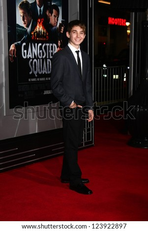 LOS ANGELES - JAN 7:  Austin Abrams arrives at the 'Gangster Squad' Premiere at Graumans Chinese Theater on January 7, 2013 in Los Angeles, CA