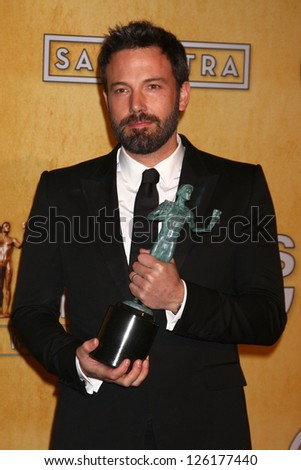 LOS ANGELES - JAN 27:  Ben Affleck pose in the press room at the 2013 Screen Actor's Guild Awards at the Shrine Auditorium on January 27, 2013 in Los Angeles, CA - stock photo