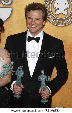 LOS ANGELES - JAN 30:  Colin Firth in the press room at The 17th Annual SAG Awards held at the Shrine Auditorium in Los Angeles, California on January 30, 2011.