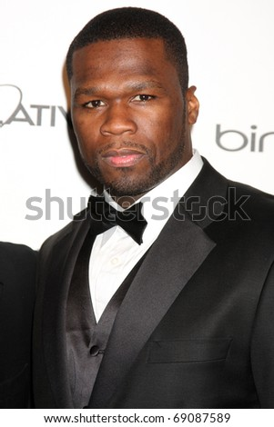 LOS ANGELES - JAN 15:  Curtis Jackson aka 50 Cent arrives at the Art Of Elysium 'Heaven' Gala 2011 at The California Science Center Exposition Park  on January 15, 2011 in Los Angeles, CA - stock photo