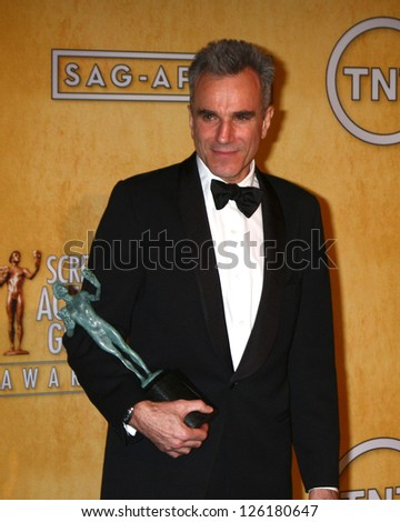LOS ANGELES - JAN 27:  Daniel Day-Lewis pose in the press room at the 2013 Screen Actor's Guild Awards at the Shrine Auditorium on January 27, 2013 in Los Angeles, CA - stock photo