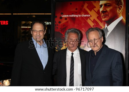 "LOS ANGELES - JAN 25:  David Milch, Dustin Hoffman, Michael Mann arrives at  the ""Luck"" Los Angeles Premiere of HBO Series at Graumans Chinese Theater on January 25, 2012 in Los Angeles, CA - stock photo"