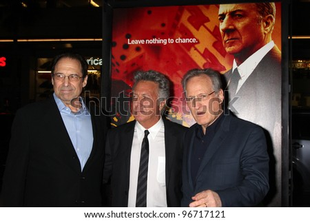 """LOS ANGELES - JAN 25:  David Milch, Dustin Hoffman, Michael Mann arrives at  the """"Luck"""" Los Angeles Premiere of HBO Series at Graumans Chinese Theater on January 25, 2012 in Los Angeles, CA - stock photo"""