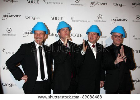 LOS ANGELES - JAN 15:  DEVO arrives at the Art Of Elysium 'Heaven' Gala 2011 at The California Science Center Exposition Park  on January 15, 2011 in Los Angeles, CA