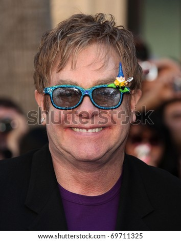 "LOS ANGELES - JAN 23:  Elton John arrives at the ""Gnomeo & Juliet"" World Premiere on January 23, 2011 in Los Angeles, CA"
