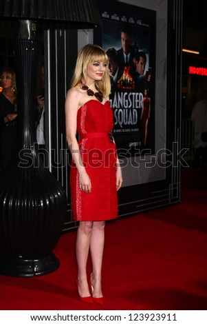 LOS ANGELES - JAN 7:  Emma Stone arrives at the 'Gangster Squad' Premiere at Graumans Chinese Theater on January 7, 2013 in Los Angeles, CA