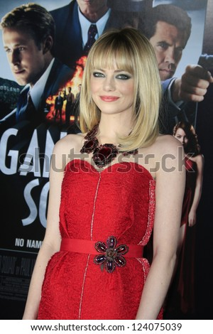 LOS ANGELES - JAN 7: Emma Stone at Warner Bros. Pictures' 'Gangster Squad' premiere at Grauman's Chinese Theater on January 7, 2013 in Los Angeles, California