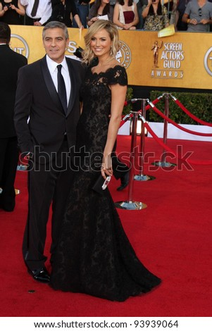 LOS ANGELES - JAN 29:  George Clooney and Stacy Keibler arrives at the 18th Annual Screen Actors Guild Awards at Shrine Auditorium on January 29, 2012 in Los Angeles, CA