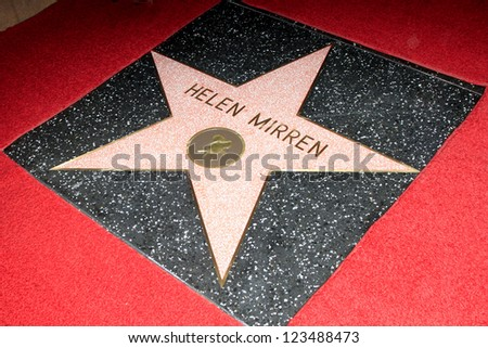LOS ANGELES - JAN 3: Helen Mirren star at a ceremony as Helen Mirren is honored with star on the Hollywood Walk of Fame on January 3, 2013 in Los Angeles, California