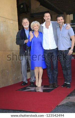 LOS ANGELES - JAN 3: Helen Mirren, Taylor Hackford, family at a ceremony as Helen Mirren is honored with star on the Hollywood Walk of Fame on January 3, 2013 in Los Angeles, California