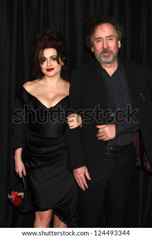 LOS ANGELES - JAN 12:  Helena Bonham Carter, Tim Burton arrives at the 2013 LA Film Critics Awards at InterContinental Hotel on January 12, 2013 in Century City, CA - stock photo