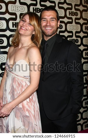 LOS ANGELES - JAN 13:  Ivana Milicevic, Antony Starr arrives at the 2013 HBO Post Golden Globe Party at Beverly Hilton Hotel on January 13, 2013 in Beverly Hills, CA..