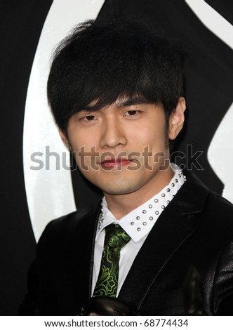 "LOS ANGELES - JAN 10:  Jay Chou arrives to Los Angeles Premiere of ""Green Hornet""  on January 10,2011 in Hollywood, CA"