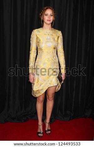 LOS ANGELES - JAN 12:  Jennifer Lawrence arrives at the 2013 LA Film Critics Awards at InterContinental Hotel on January 12, 2013 in Century City, CA