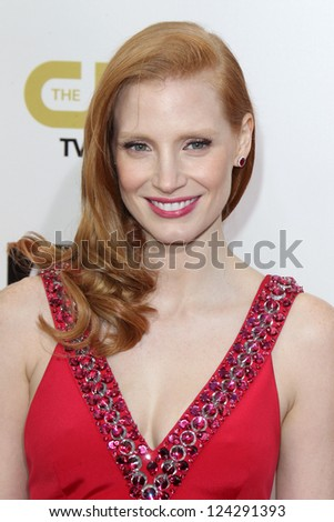 LOS ANGELES - JAN 9:  Jessica Chastain arrives at the 18th Annual Critics' Choice Movie Awards at Barker Hangar on January 9, 2013 in Santa Monica, CA