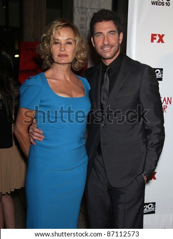 """LOS ANGELES - JAN 16:  Jessica Lange & Dylan McDermott arrives to the """"American Horror Story"""" Los Angeles Premiere  on October 3,2011 in Hollywood, CA"""