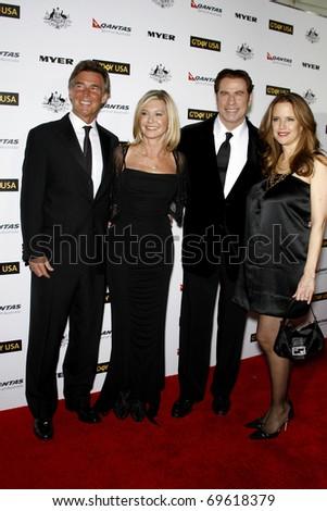 LOS ANGELES - JAN 22:  John Easterling, Olivia Newton John, John Travolta and Kelly Preston arrive at the 2011 G'Day USA Black Tie Gala at Hollywood Palladium on January 22, 2011 in Los Angeles, CA
