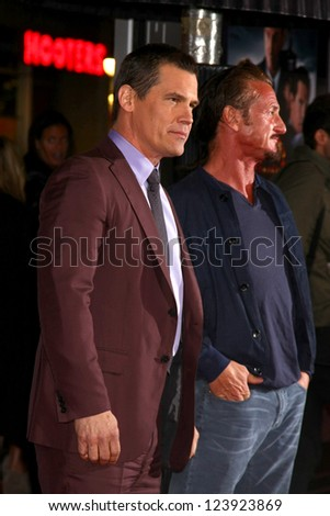 LOS ANGELES - JAN 7:  Josh Brolin, Sean Penn arrives at the 'Gangster Squad' Premiere at Graumans Chinese Theater on January 7, 2013 in Los Angeles, CA - stock photo