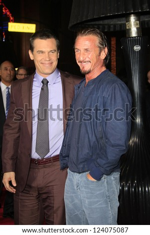 LOS ANGELES - JAN 7: Josh Brolin, Sean Penn at Warner Bros. Pictures' 'Gangster Squad' premiere at Grauman's Chinese Theater on January 7, 2013 in Los Angeles, California - stock photo