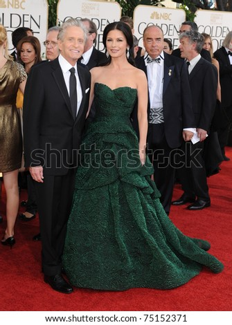 LOS ANGELES - JAN 16:  Michael Douglas & Catherine Zeta-Jones arrives to the 68th Annual Golden Globe Awards  on January 16, 2011 in Beverly Hills, CA