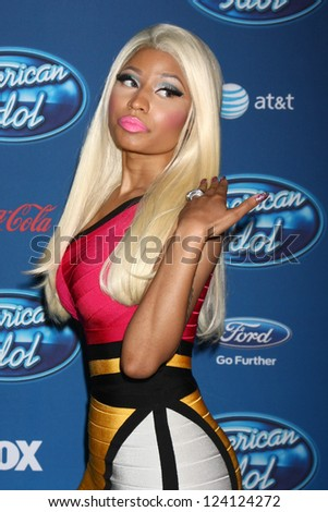 LOS ANGELES - JAN 9:  Nicki Minaj attends the 'American Idol' Premiere Event at Royce Hall, UCLA on January 9, 2013 in Westwood, CA