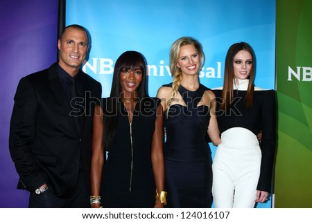 LOS ANGELES - JAN 7:  Nigel Barker, Naomi Campbell, Karolina Kurkova and Coco Rocha attends the NBCUniversal 2013 TCA Winter Press Tour at Langham Huntington Hotel on January 7, 2013 in Pasadena, CA