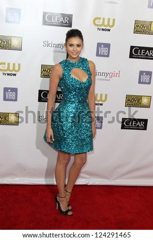 LOS ANGELES - JAN 9:  Nina Dobrev arrives at the 18th Annual Critics' Choice Movie Awards at Barker Hangar on January 9, 2013 in Santa Monica, CA