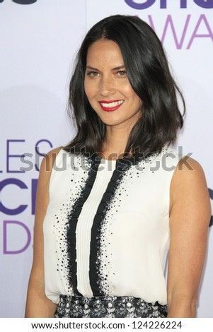 LOS ANGELES - JAN 9: Olivia Munn at the 39th Annual People's Choice Awards at Nokia Theater L.A. Live on January 9, 2013 in Los Angeles, California - stock photo