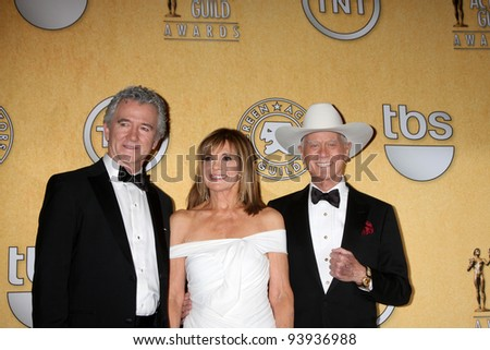 LOS ANGELES - JAN 29:  Patrick Duffy, Linda Grey, Larry Hagman in the Press Room at the 18th Annual Screen Actors Guild Awards at Shrine Auditorium on January 29, 2012 in Los Angeles, CA