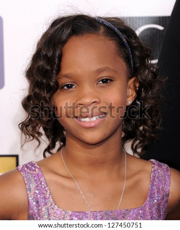 "LOS ANGELES - JAN 10:  Quvenzhane Wallis arrives to the ""Critic's Choice Awards 2013  on January 10, 2013 in Santa Monica, CA"