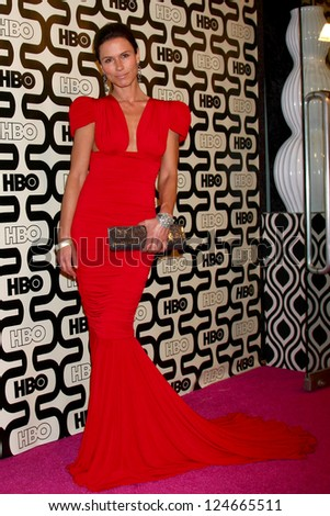 LOS ANGELES - JAN 13:  Rhona Mitra arrives at the 2013 HBO Post Golden Globe Party at Beverly Hilton Hotel on January 13, 2013 in Beverly Hills, CA.. - stock photo