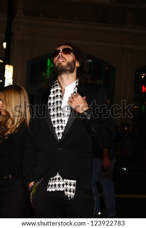 LOS ANGELES - JAN 7:  Russell Brand arrives at the 'Gangster Squad' Premiere at Graumans Chinese Theater on January 7, 2013 in Los Angeles, CA - stock photo
