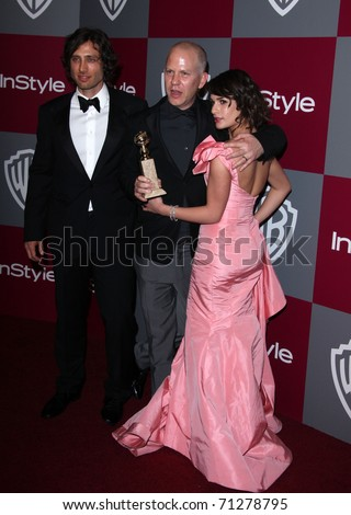 LOS ANGELES - JAN 16: Ryan Murphy & Lea Michele arrive at the 12th Annual WB-In Style Golden Globe After Party on January 16, 2011 in Beverly Hills, CA - stock photo