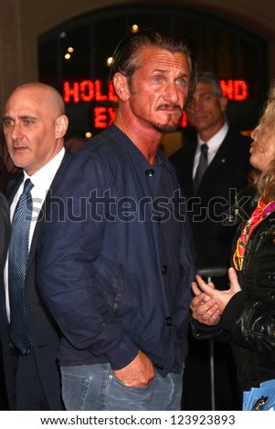 LOS ANGELES - JAN 7:  Sean Penn arrives at the 'Gangster Squad' Premiere at Graumans Chinese Theater on January 7, 2013 in Los Angeles, CA - stock photo