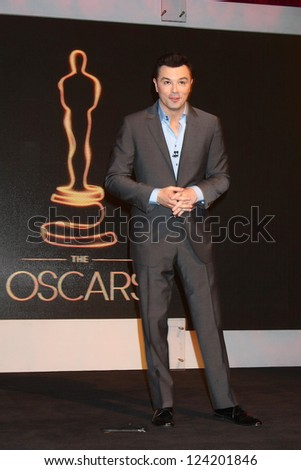 LOS ANGELES - JAN 10:  Seth MacFarlane at the 2013 Academy Award nomination announcements at Samuel Goldwyn Theater on January 10, 2013 in Beverly Hills, CA