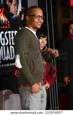 LOS ANGELES - JAN 7:  T.I. arrives at the 'Gangster Squad' Premiere at Graumans Chinese Theater on January 7, 2013 in Los Angeles, CA