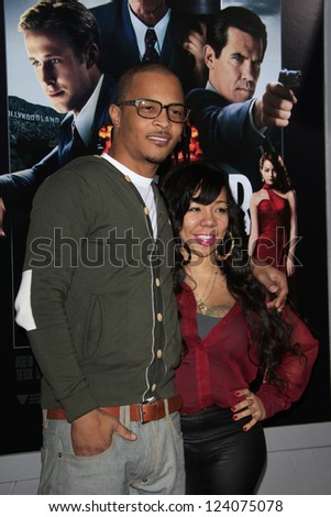 "LOS ANGELES - JAN 7: T.I., Tameka ""Tiny"" Harris at Warner Bros. Pictures' 'Gangster Squad' premiere at Grauman's Chinese Theater on January 7, 2013 in Los Angeles, California"