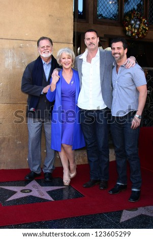 LOS ANGELES - JAN 3:  Taylor Hackford, Helen Mirren, Family at the Hollywood Walk of Fame Star Ceremony for Helen Mirren at Pig 'n Whistle on January 3, 2013 in Los Angeles, CA