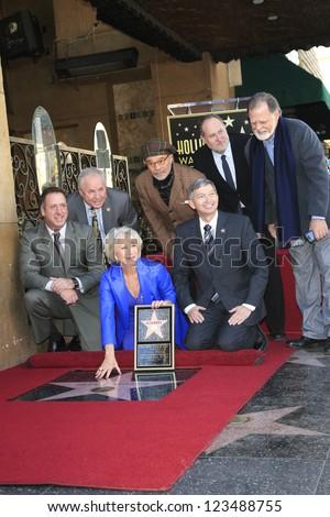 LOS ANGELES - JAN 3: Tom LaBonge, Jon Turtletaub, David Mamet, Helen Mirren, Leron Gubler, Taylor Hackford  as Helen Mirren is honored with star on January 3, 2013 in Los Angeles, California